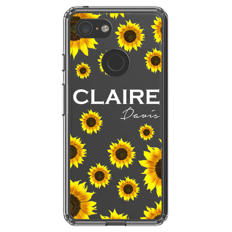 Personalised Sunflower Name Google Pixel 3 Clear Case