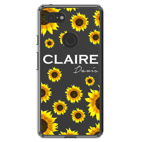 Personalised Sunflower Name Google Pixel 3 XL Clear Case