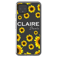 Personalised Sunflower Name Google Pixel 4 Clear Case