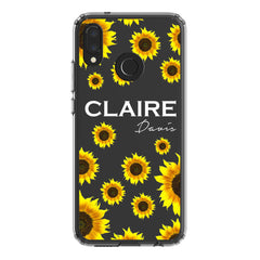 Personalised Sunflower Name Huawei P20 Lite Clear Case