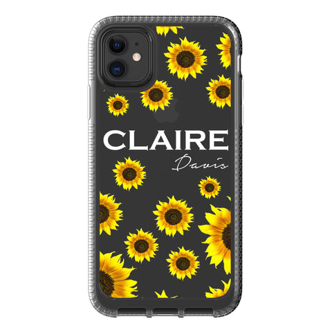 Personalised Sunflower Name iPhone 11 Clear Case