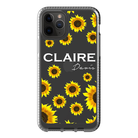 Personalised Sunflower Name iPhone 11 Pro Clear Case