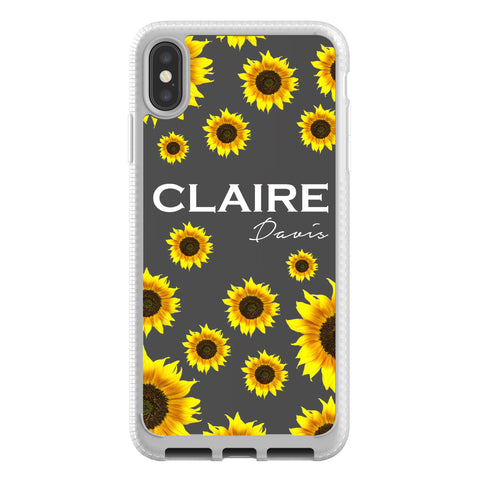 Personalised Sunflower Name iPhone XS Max Clear Case