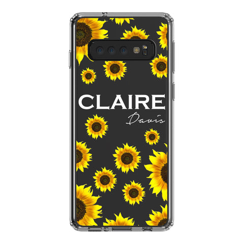 Personalised Sunflower Name Samsung Galaxy S10 Clear Case