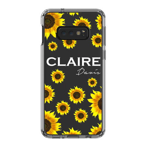 Personalised Sunflower Name Samsung Galaxy S10E Clear Case