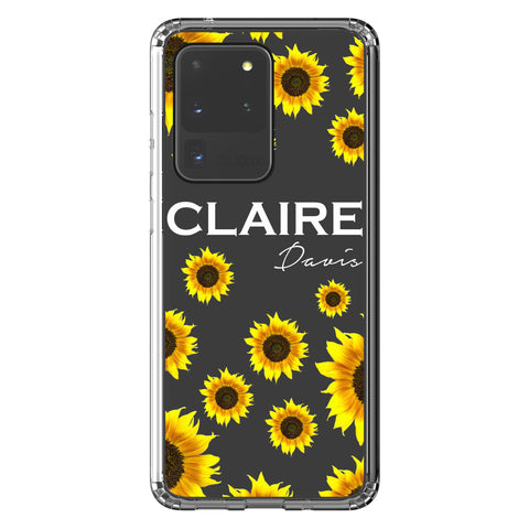 Personalised Sunflower Name Samsung Galaxy S20 Ultra Clear Case