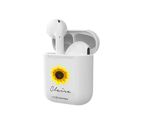 Personalised Sunflower Name Earbuds