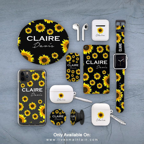 Personalised Sunflower Name Phone Case Accessories Package
