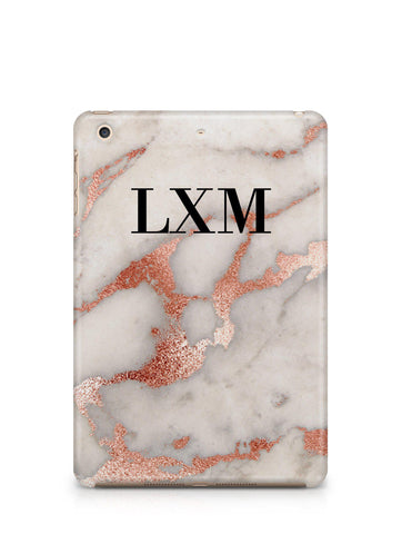 Personalised Grey x Rose Gold Marble Initials iPad Case