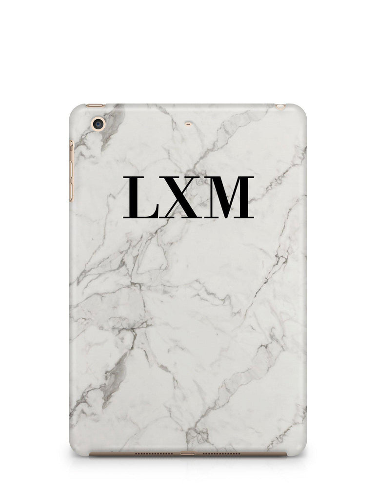 Personalised White Calacatta Marble Initials iPad Case