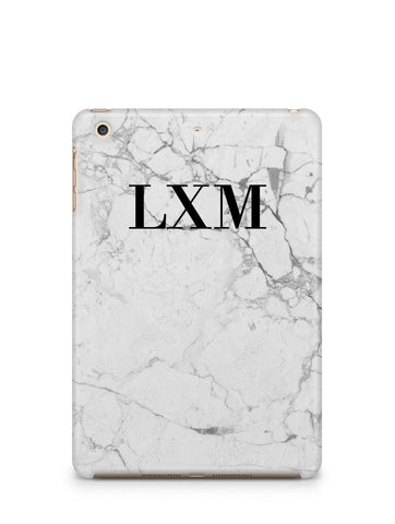 Personalised White Marble x Black Initials iPad Case