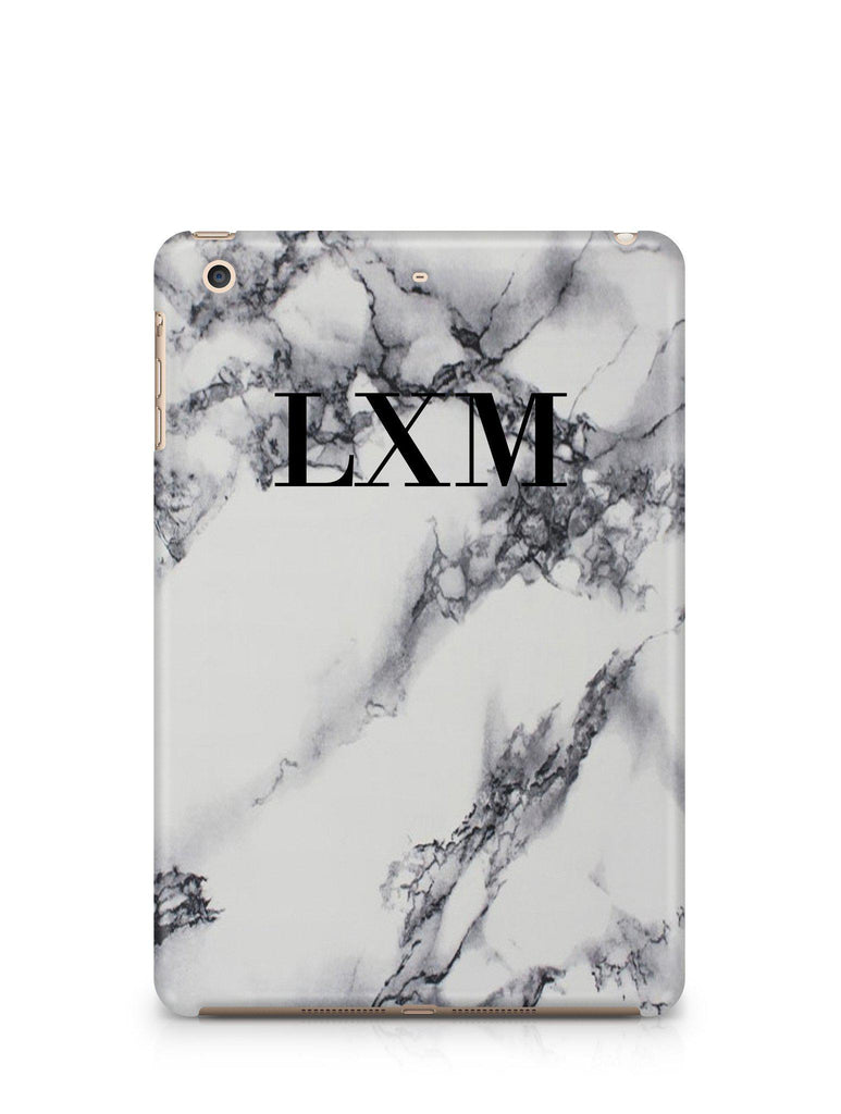 Personalised White x Black Marble Initials iPad Case
