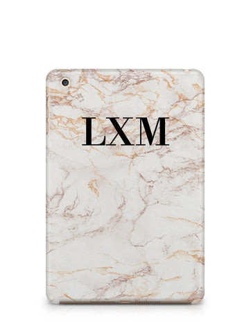 Personalised White Marble Initials iPad Case