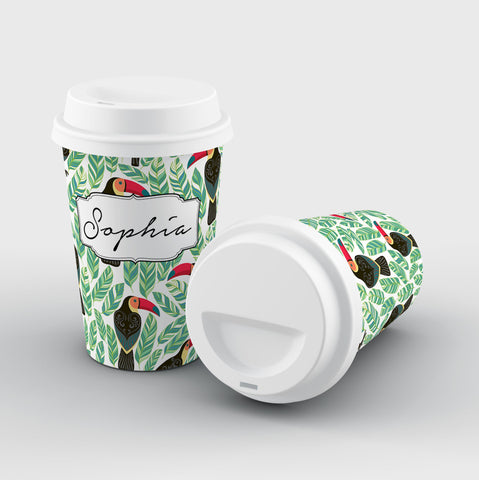 Personalised Toucans x Leafs Name Reusable Coffee Cup