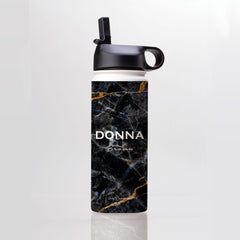 Personalised Midnight Marble Name Water Bottle