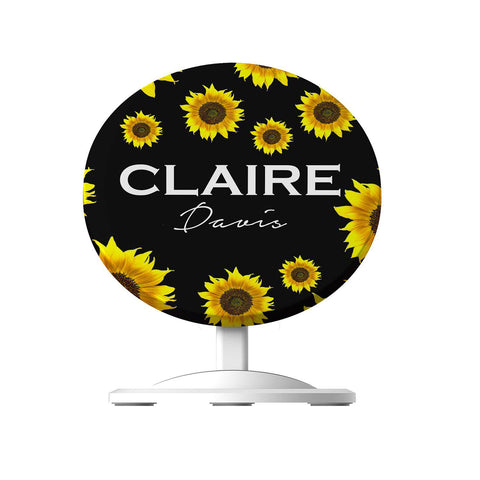 Personalised Sunflower Name Wireless Charger
