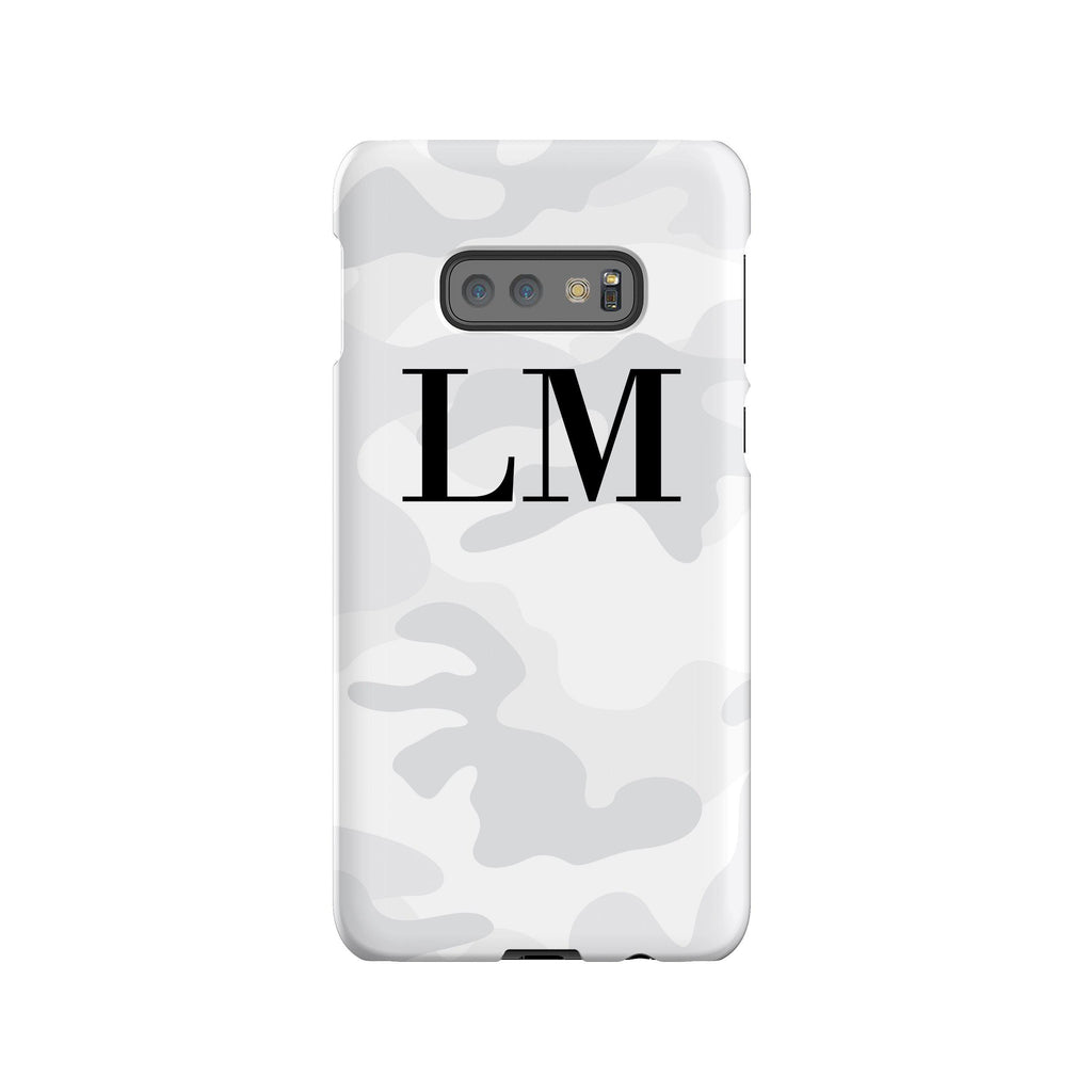Personalised White Camouflage Initials Samsung Galaxy S10e Case