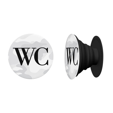 Personalised White Camouflage Initials PopSocket
