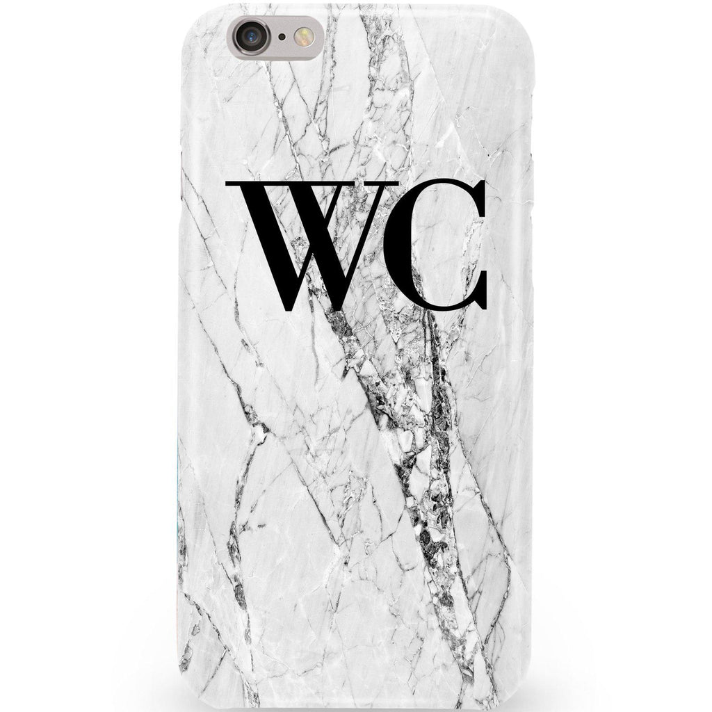 Personalised Cracked White Marble Initials iPhone 6/6s Case