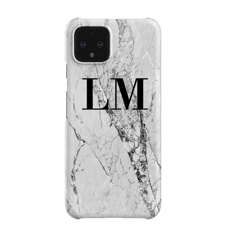 Personalised Cracked White Marble Initials Google Pixel 4 Case