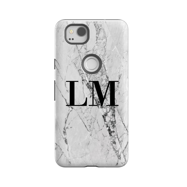 Personalised White Cracked Marble Google Pixel 2 Case
