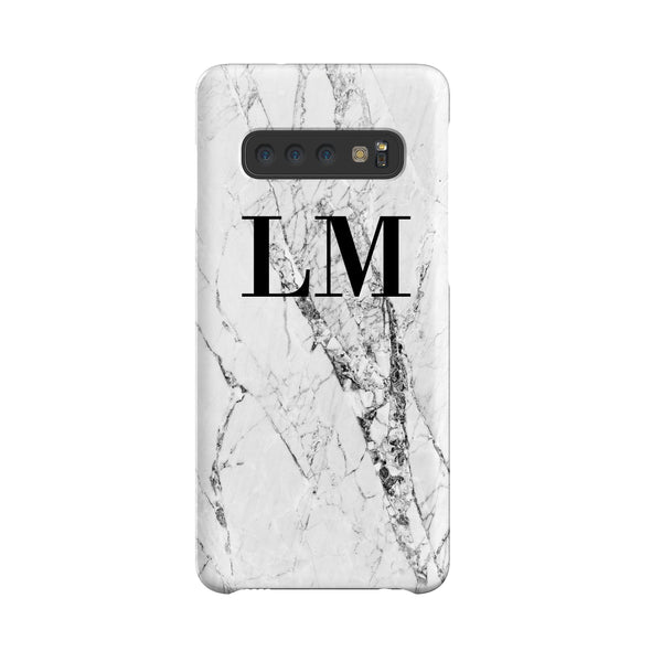 Personalised Cracked White Marble Initials Samsung Galaxy S10 Case