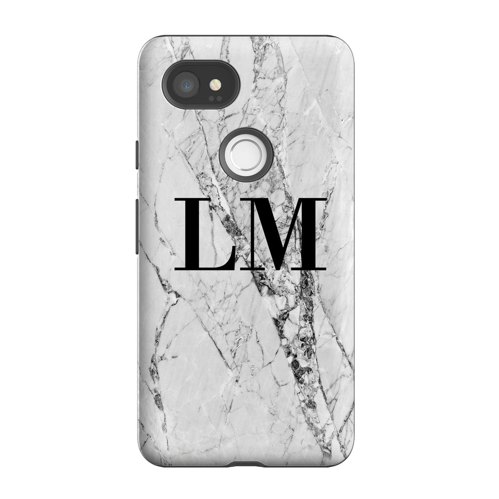 Personalised White Cracked Marble Initials Google Pixel 2 XL Case