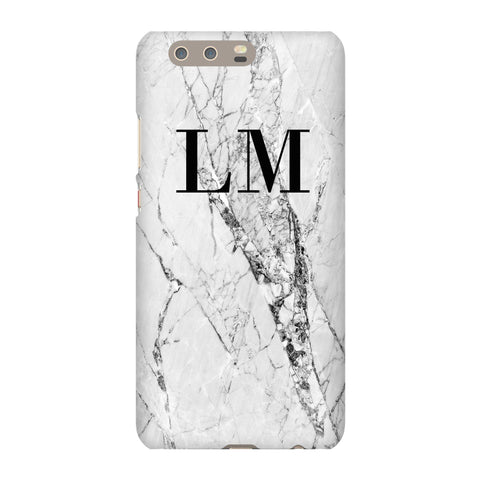 Personalised Cracked White Marble Initials Huawei P10 Plus Case