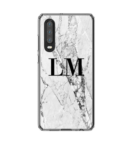 Personalised Cracked White Marble Initials Huawei P30 Case