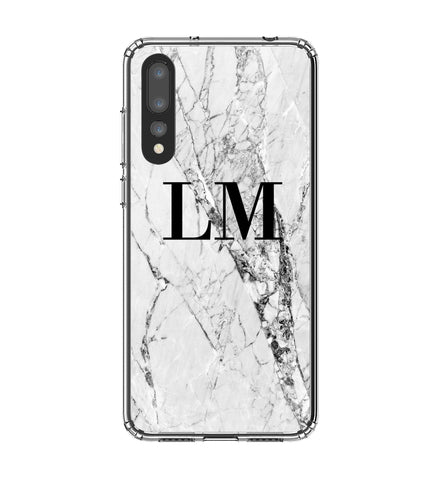 Personalised Cracked White Marble Initials Huawei P20 Pro Case