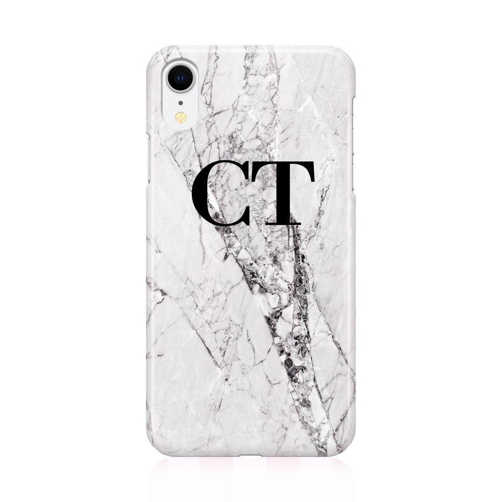 Personalised Cracked White Marble Initials iPhone XR Case