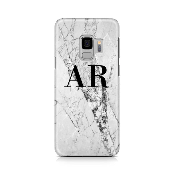 Personalised Cracked White Marble Initials Samsung Galaxy S9 Case