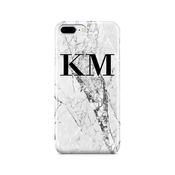 Personalised Cracked White Marble Initials iPhone 8 Plus Case