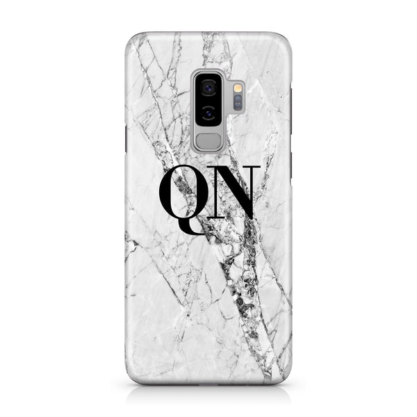 Personalised Cracked White Marble Initials Samsung Galaxy S9 Plus Case