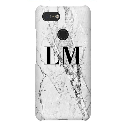 Personalised Cracked White Marble Initials Google Pixel 3 Case
