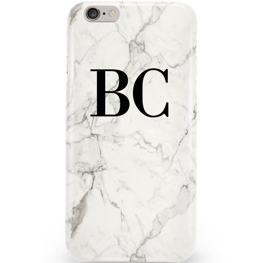 Personalised White Calacatta Marble Initials iPhone 6/6s Case