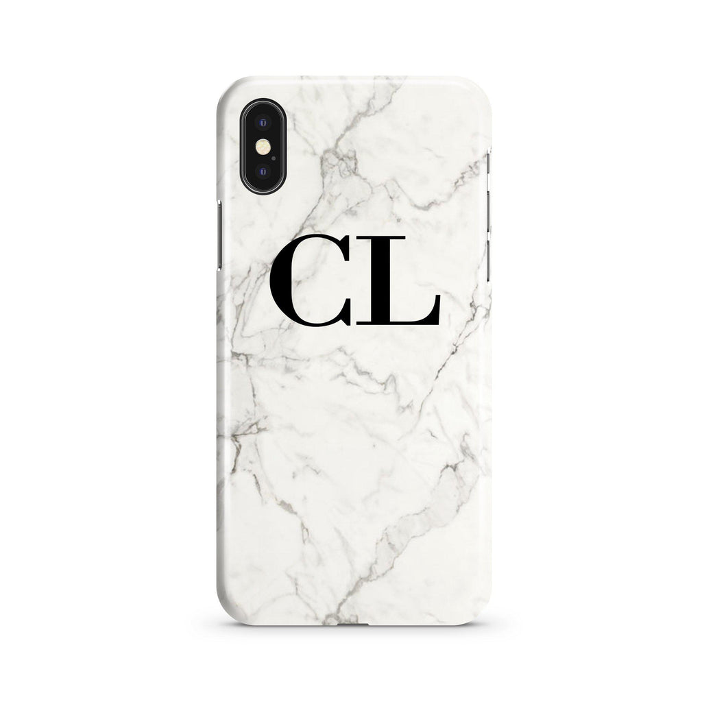 Personalised White Calacatta Marble Initials iPhone XS Case