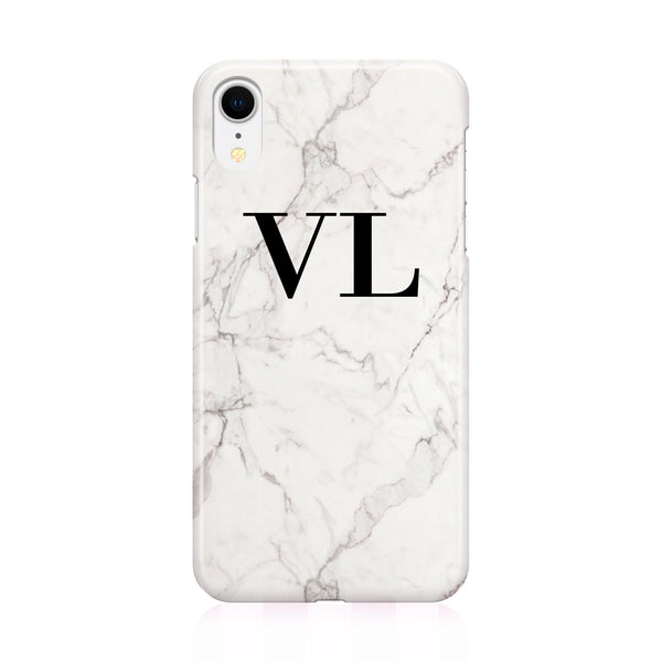 Personalised White Calacatta Marble Initials iPhone XR Case