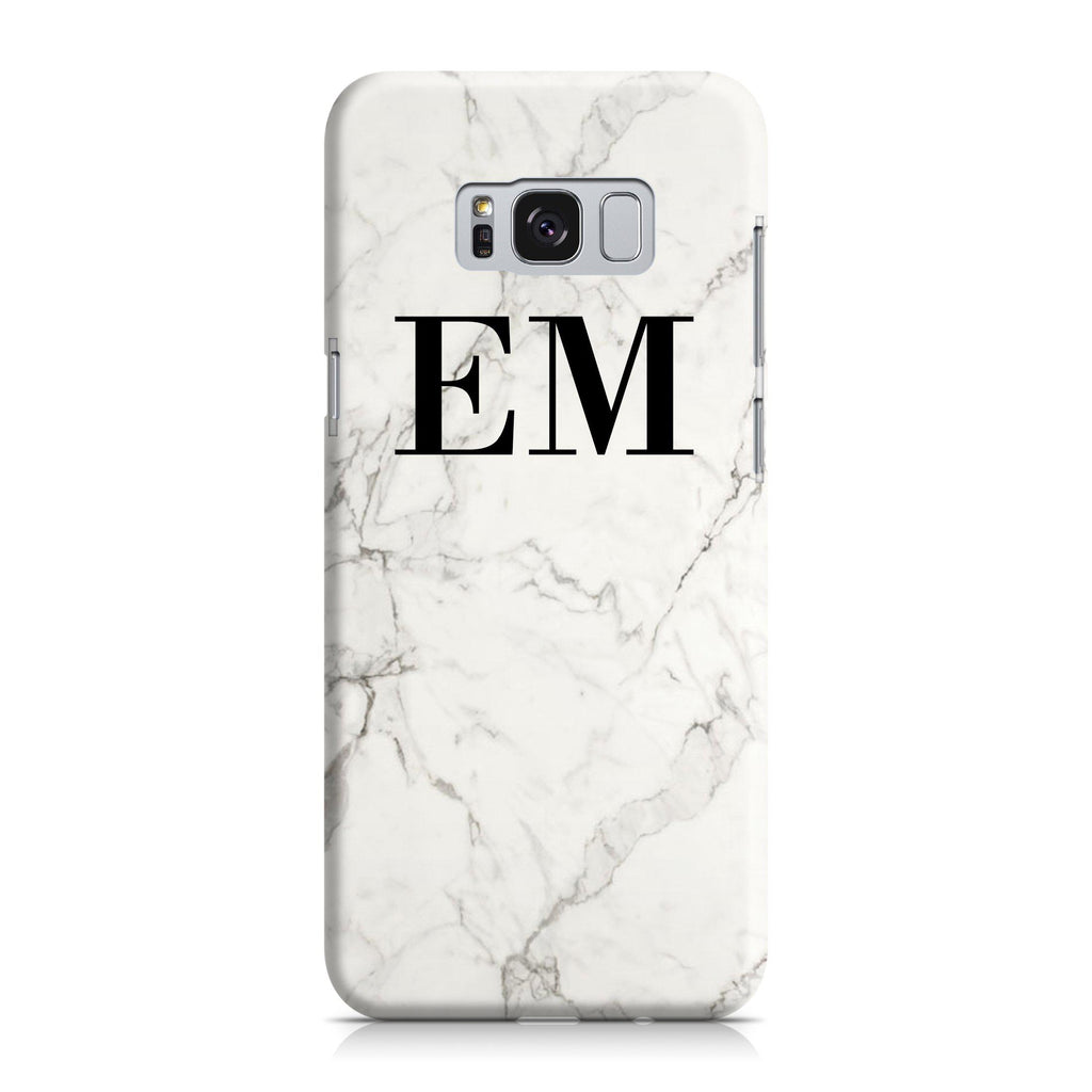 Personalised White Calacatta Marble Initials Samsung Galaxy S8 Case