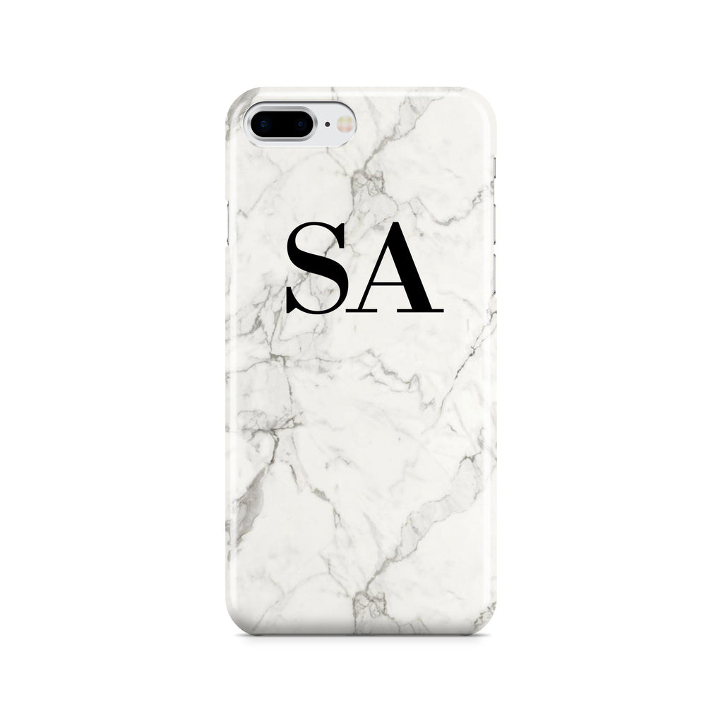 Personalised White Calacatta Marble Initials iPhone 8 Plus Case