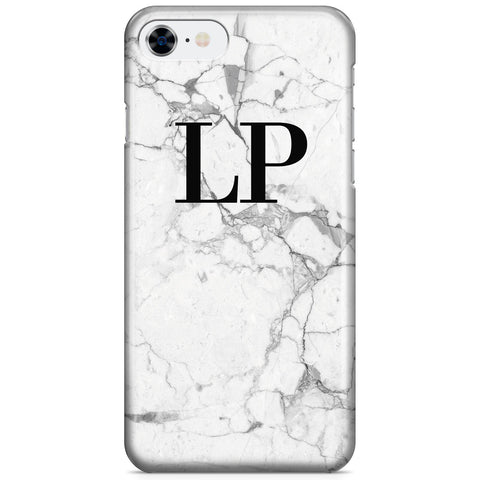Personalised White Marble x Black Initials iPhone SE Case