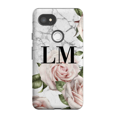Personalised White Floral Marble Initials Google Pixel 2 XL Case