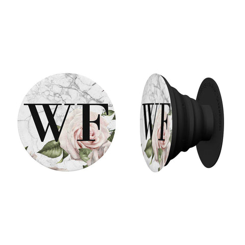 Personalised White Floral Marble Initials Phone Grip