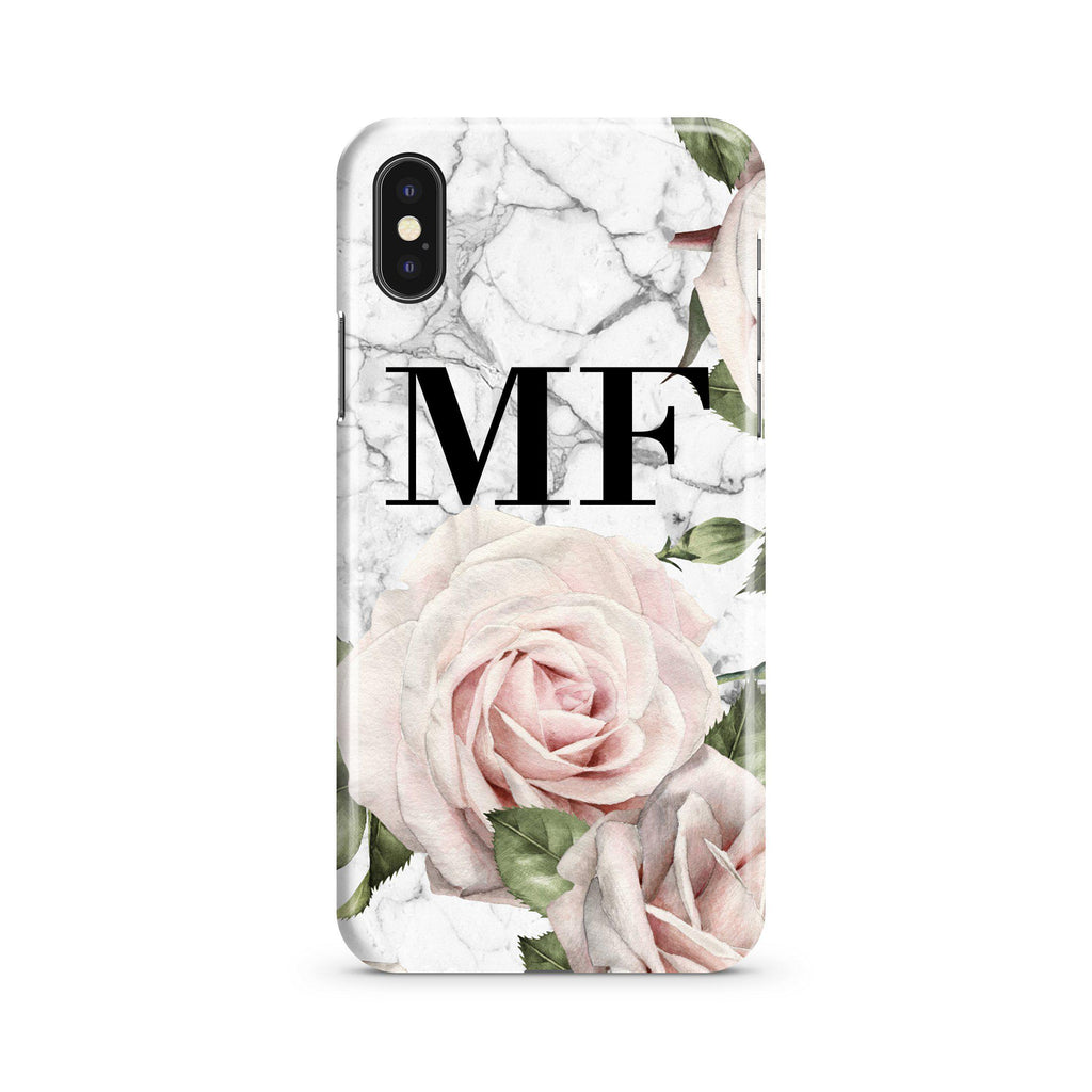 Personalised White Floral Marble Initials iPhone XS Max Case