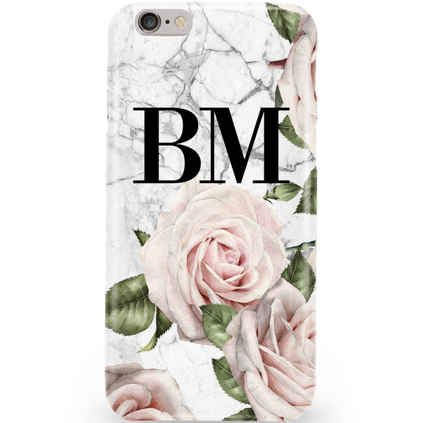 Personalised White Floral Marble Initials iPhone 6/6s Case