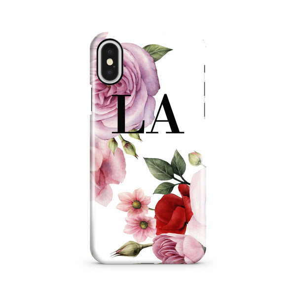 Personalised Floral Blossom Initials iPhone X Case