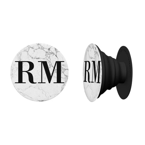 Personalised White Marble x Black Initials Phone Grip