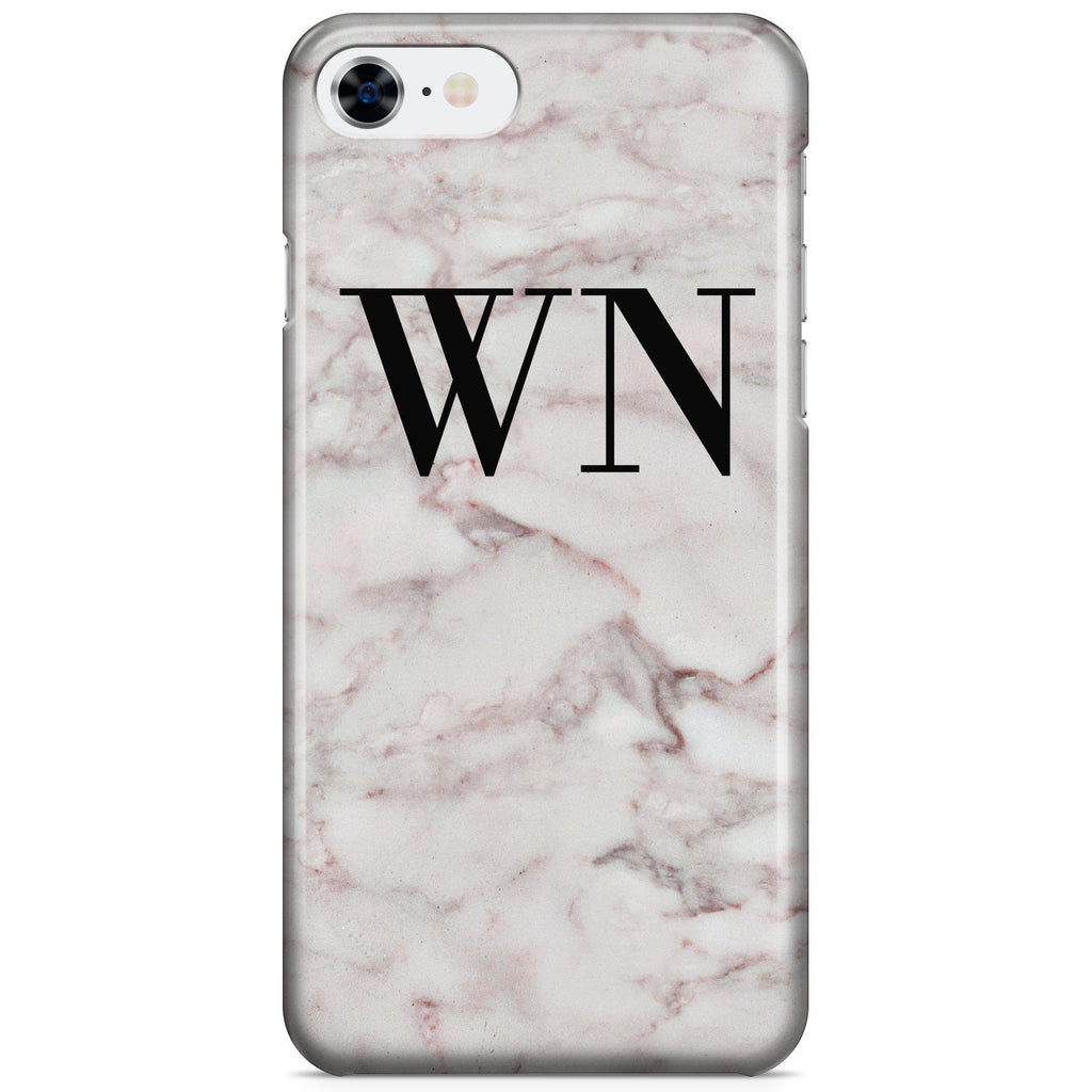 Personalised White Napoli Marble Initials iPhone 7 Case