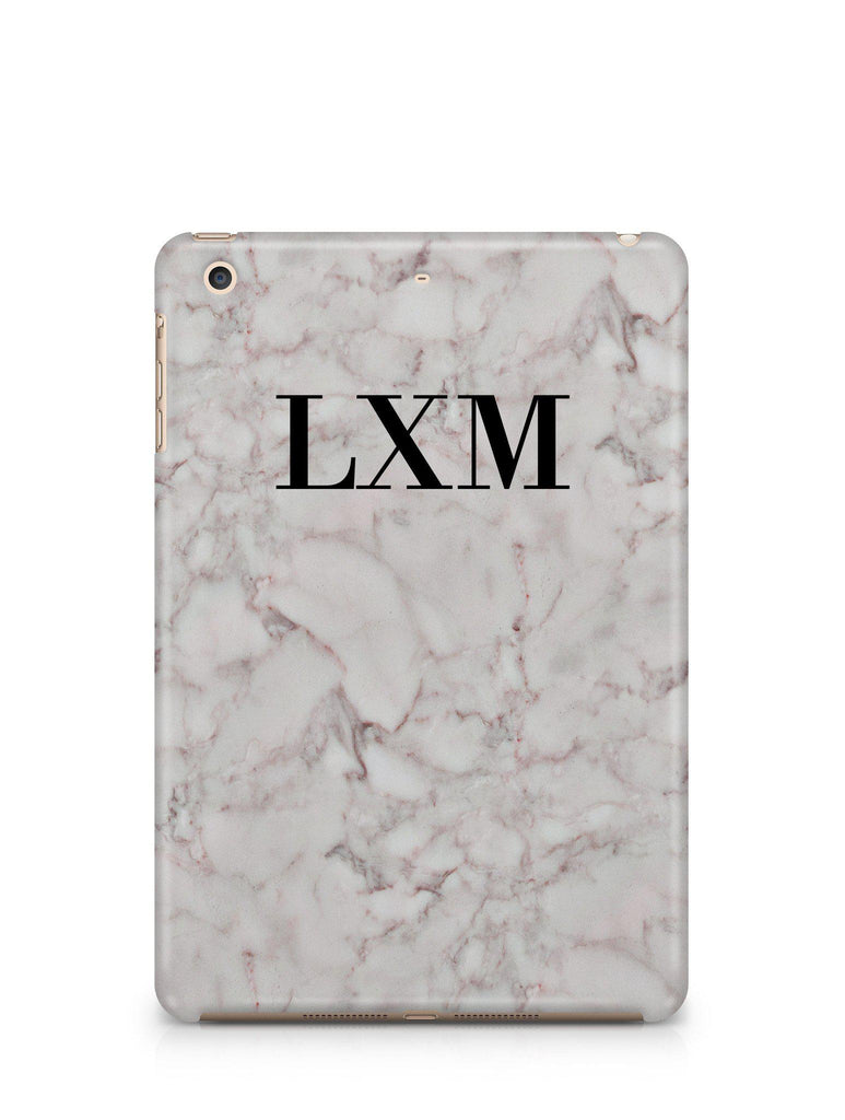 Personalised White Napoli Marble Initials iPad Case