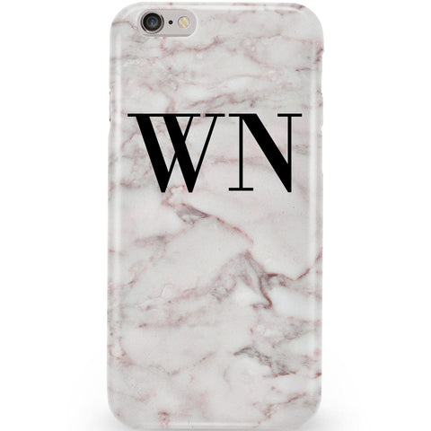 Personalised White Napoli Marble Initials Phone Case